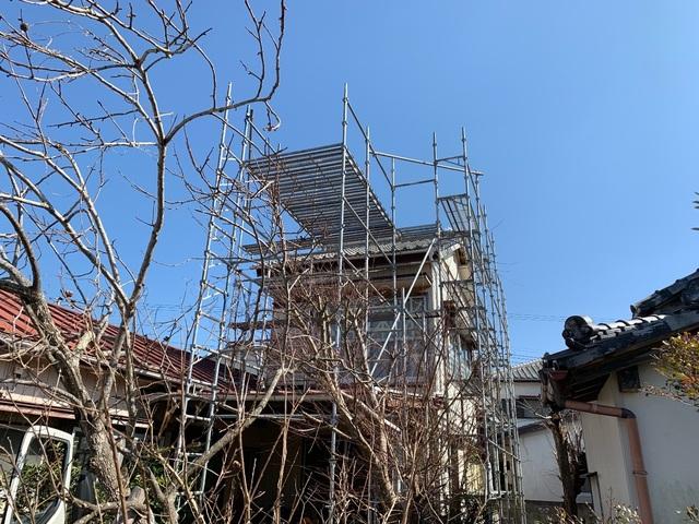 館山市北条にて足場工事