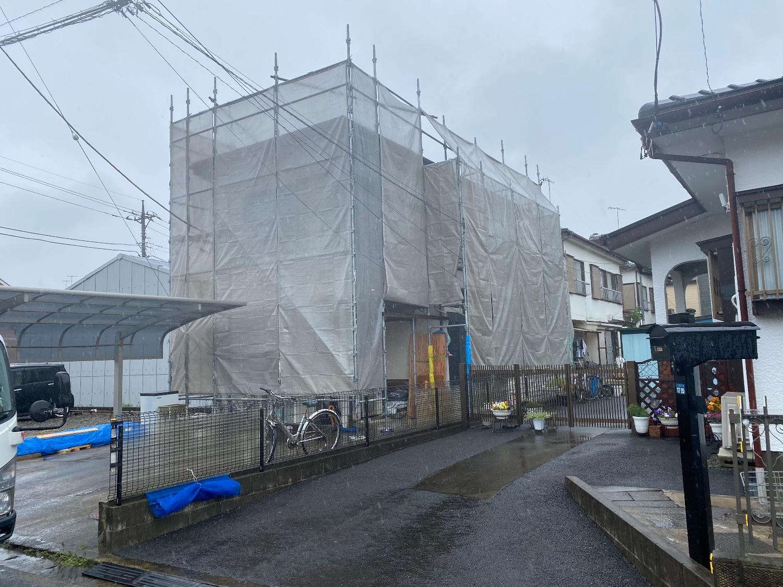 海老名門沢橋にて仮設工事