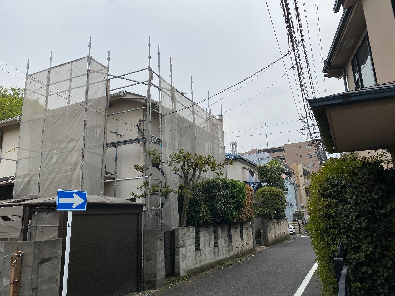 目黒区南にて仮設工事