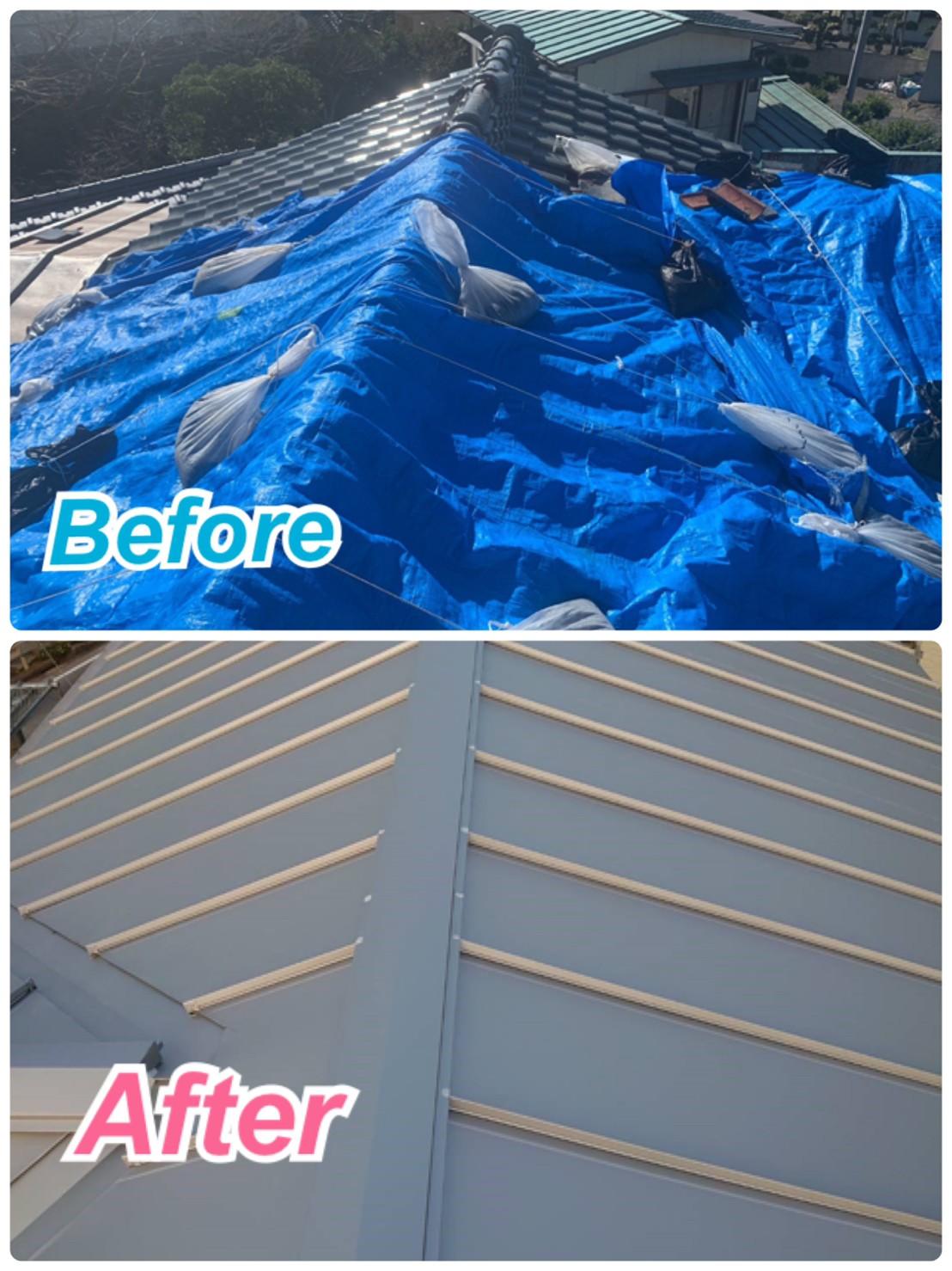 瓦屋根から金属屋根へ葺き替え🏠