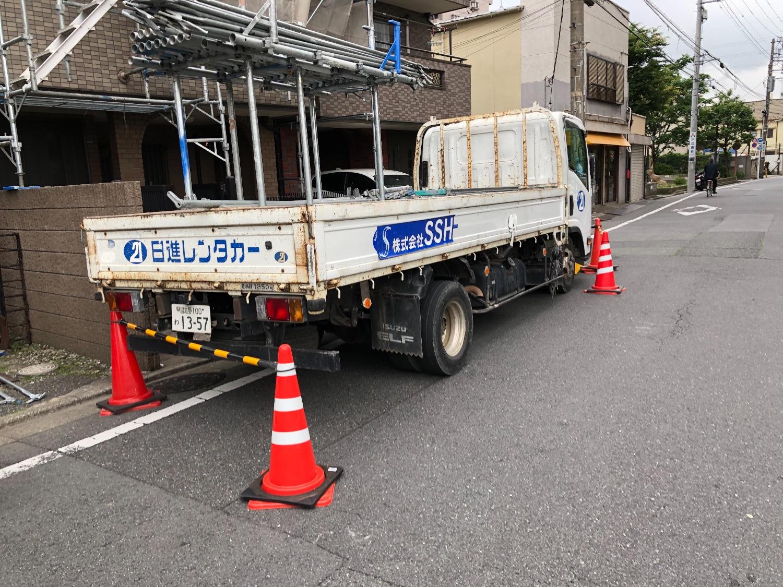 大田区西六郷にて仮設工事
