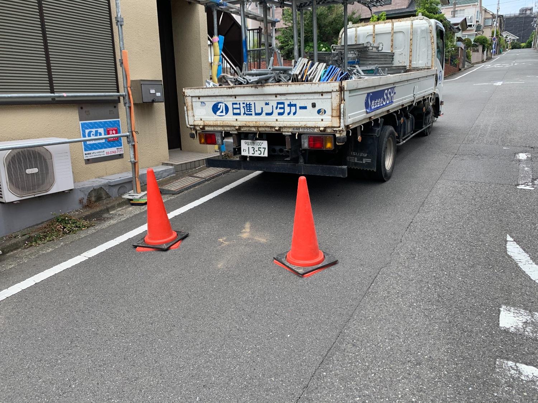 港南区東永谷にて仮設工事
