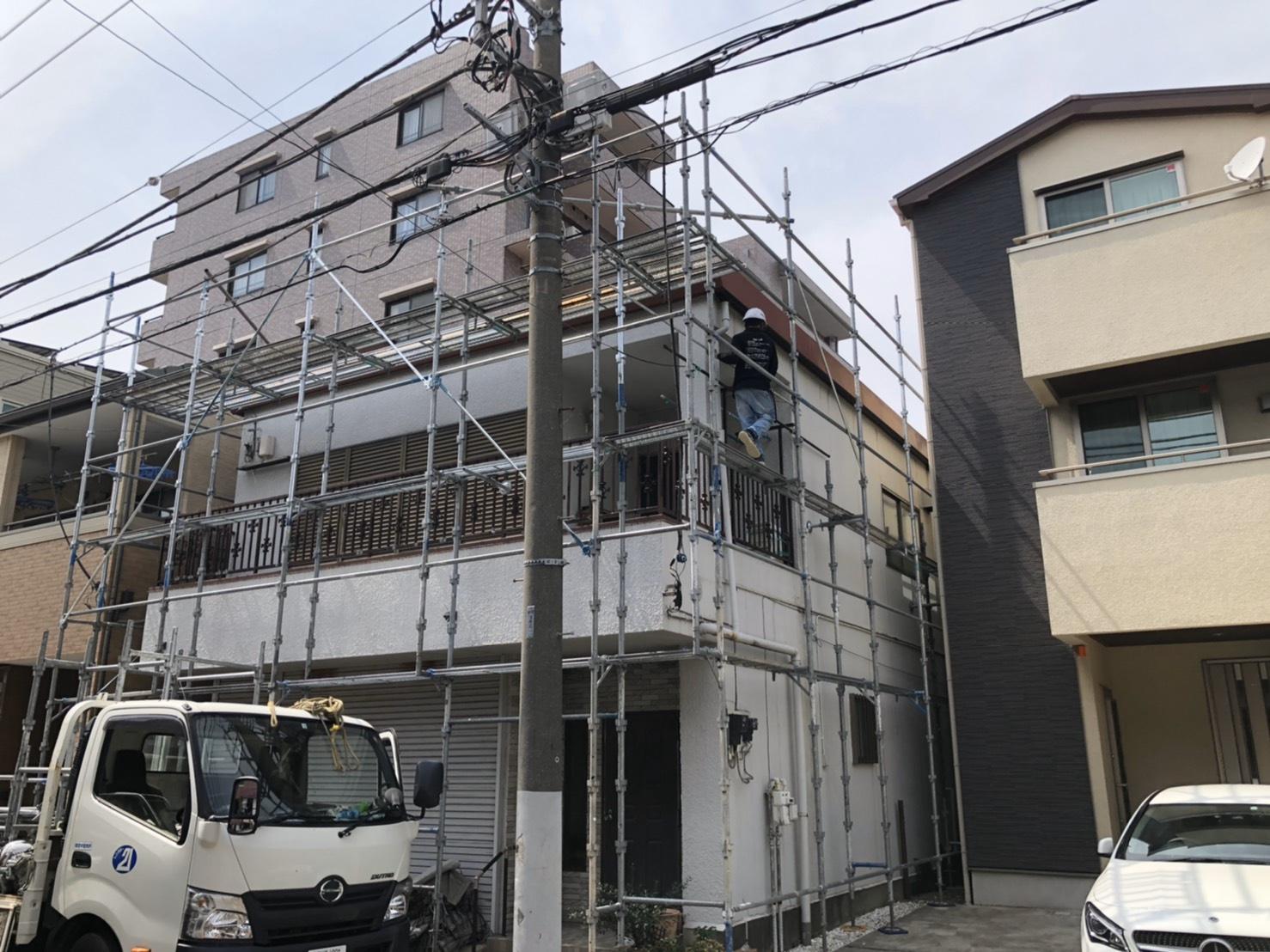 西区久保町にて仮設工事