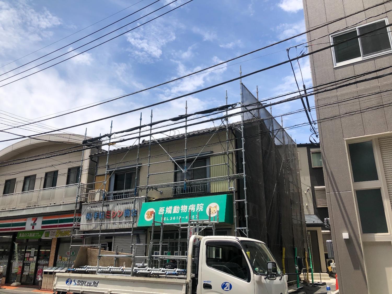 墨田区八広にて仮設工事