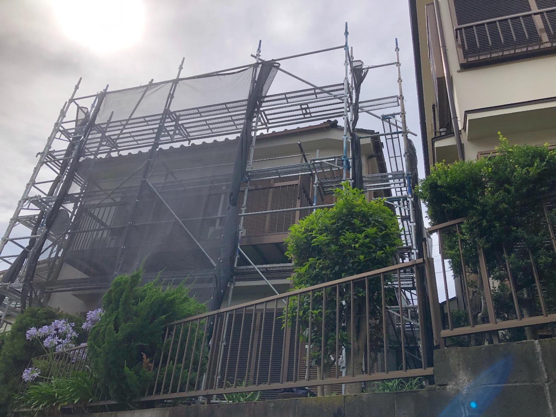 泉区中田東にて仮設工事