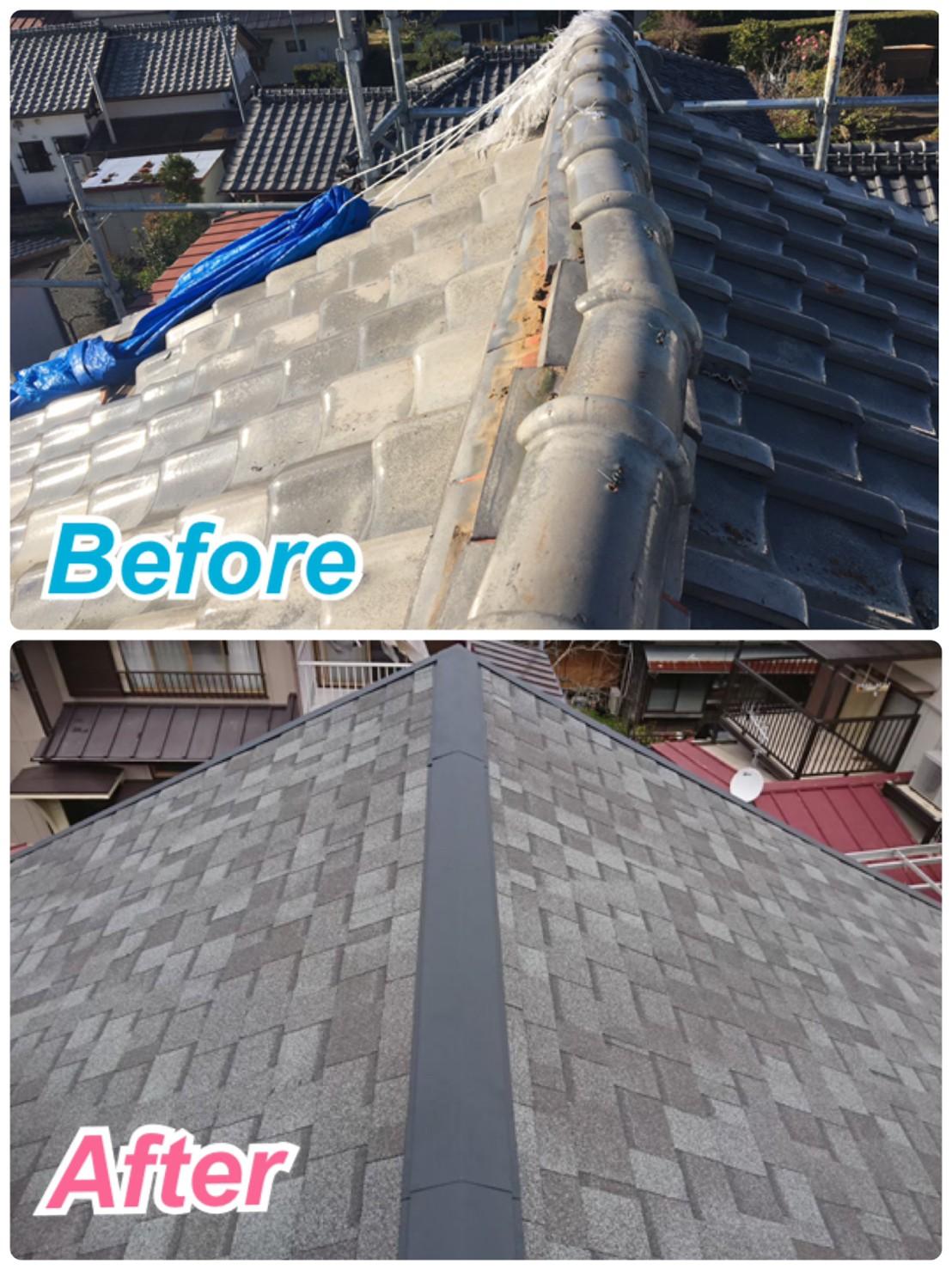屋根葺き替え工事🏡瓦屋根からアスファルトシングルへ✨