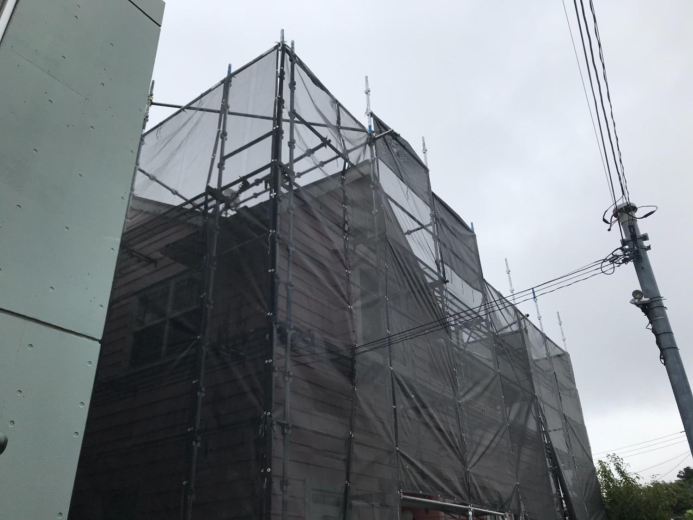 藤沢市立石にて仮設工事
