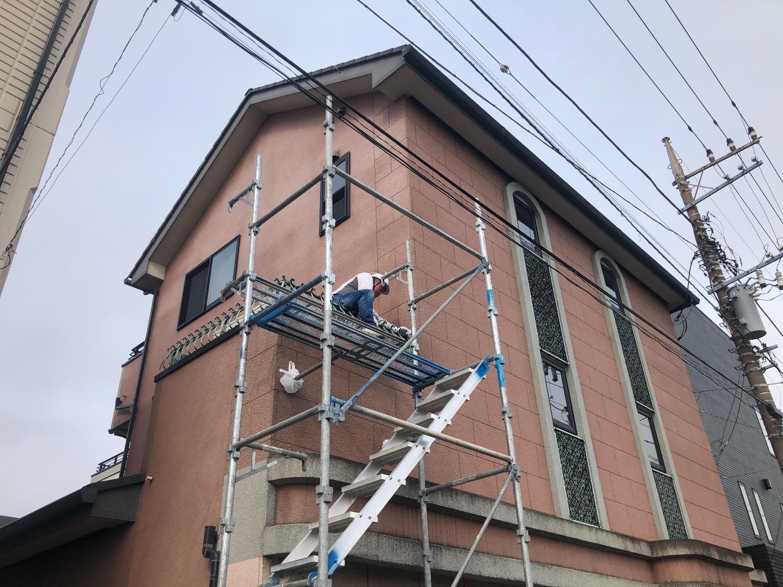 中央区矢部にて仮設工事