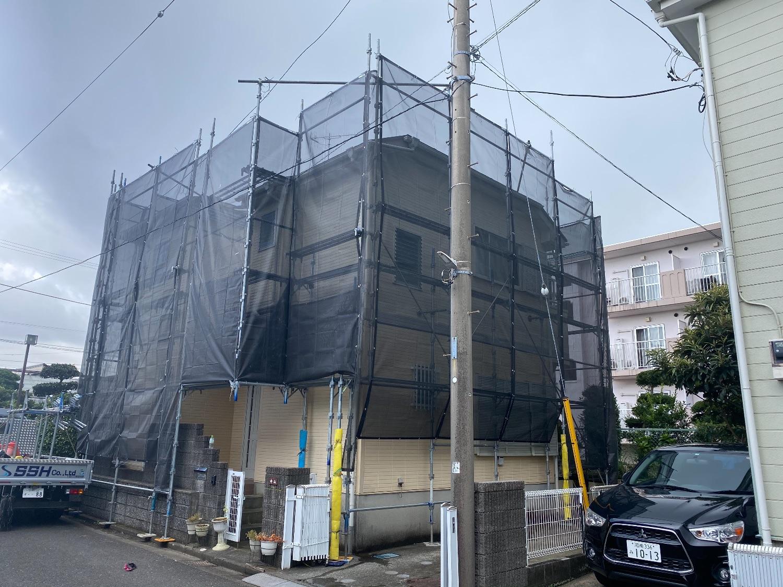 藤沢市大庭にて仮設工事