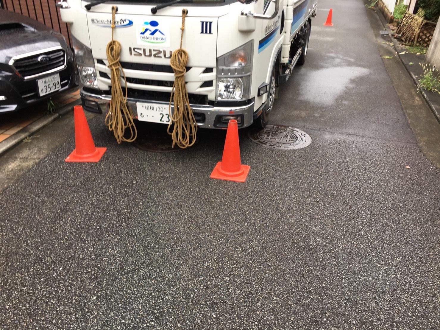 旭区笹野台にて仮設工事