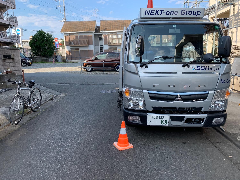 座間市南栗原にて仮設工事