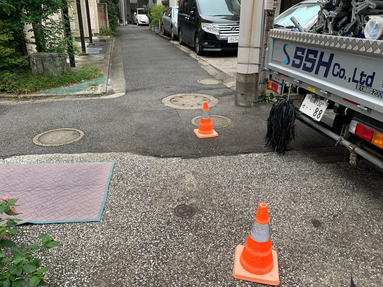 品川区平塚にて仮設工事