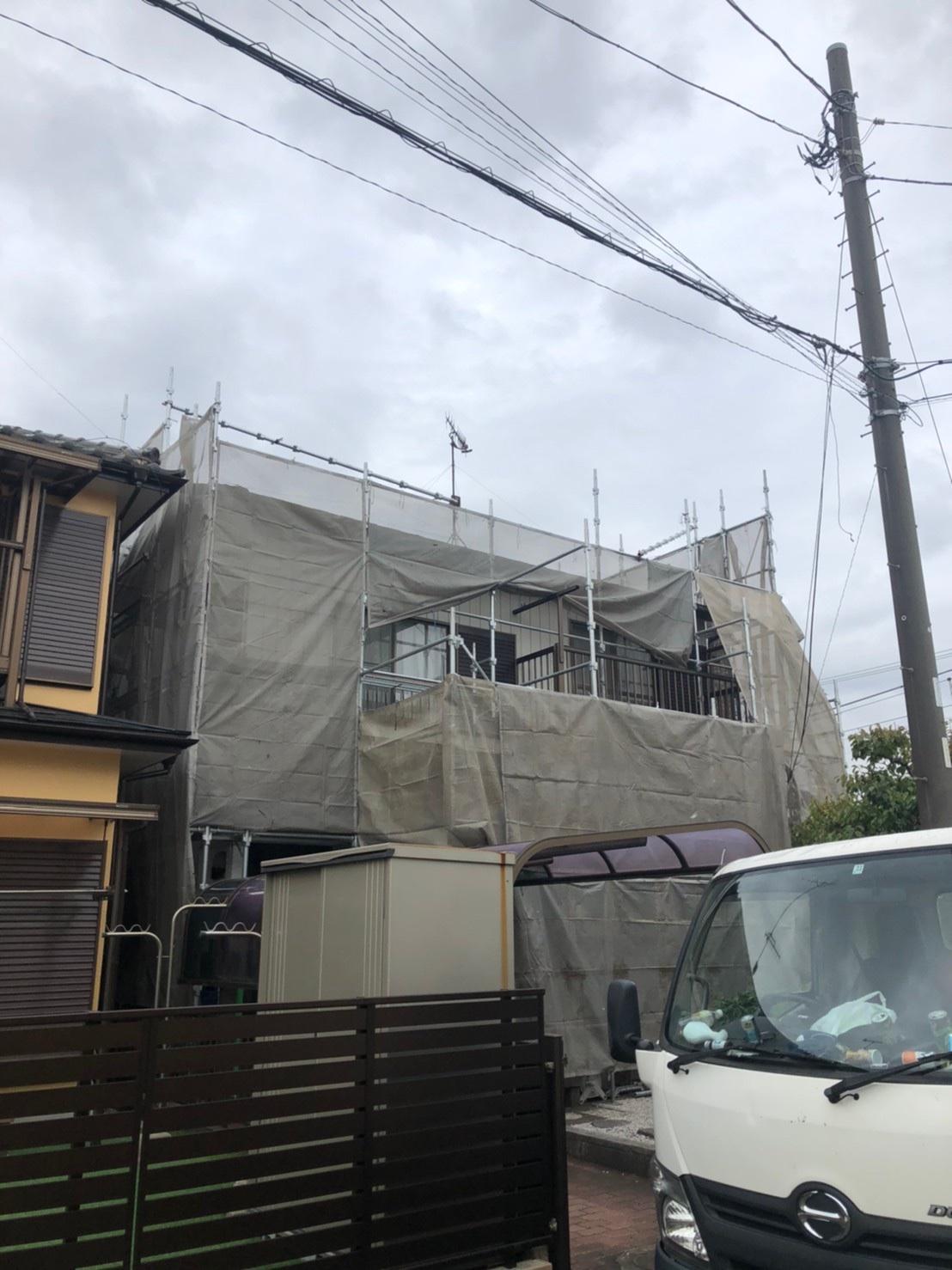 寒川町倉見にて仮設工事