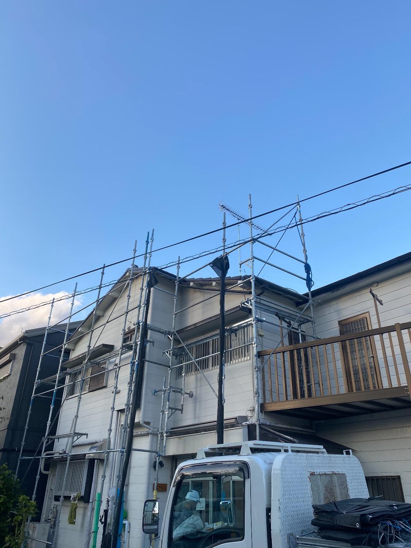旭区都岡町にて仮設工事
