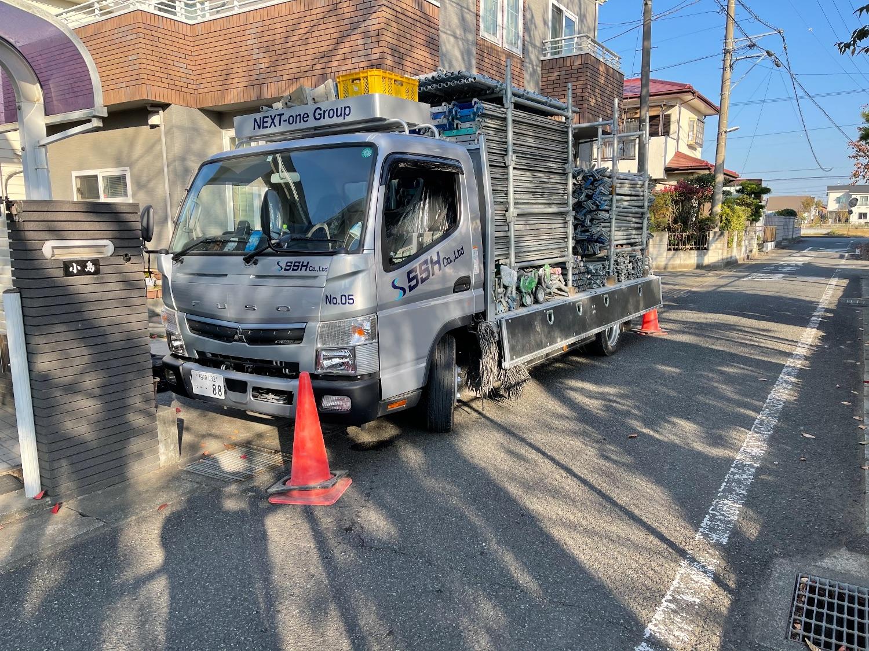 平塚市横内にて仮設工事