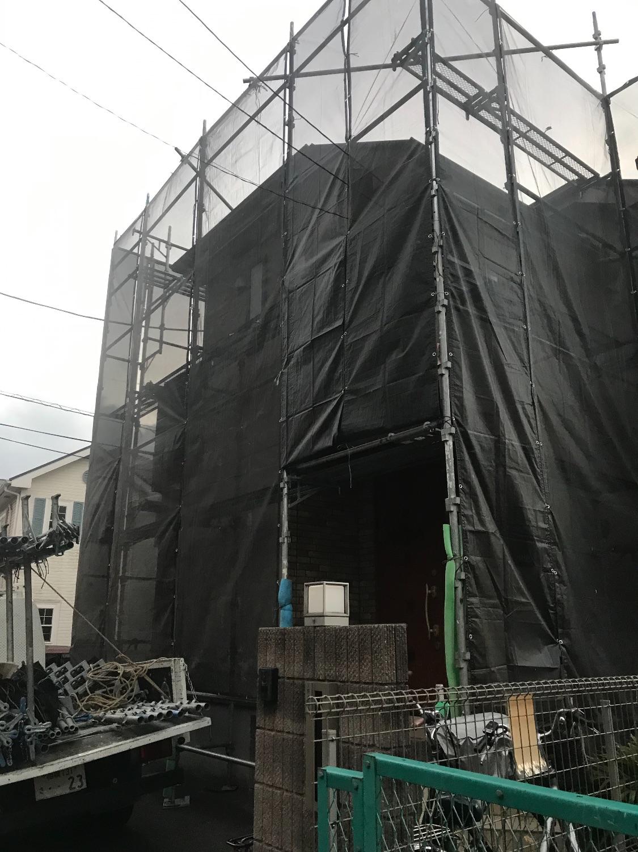 町田市つくし野にて仮設工事