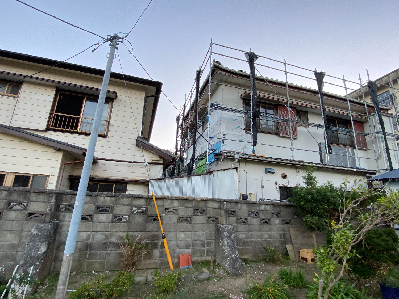 鋸南町竜島にて仮設工事