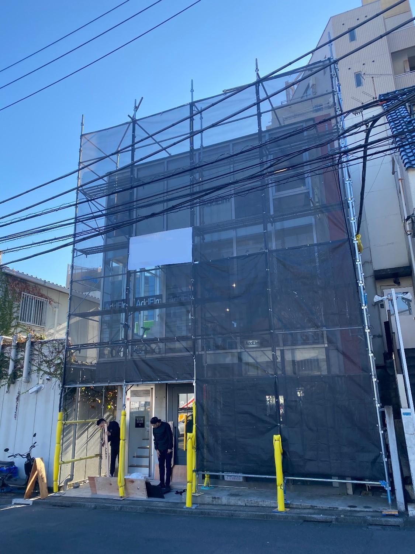 渋谷区神宮前にて仮設工事