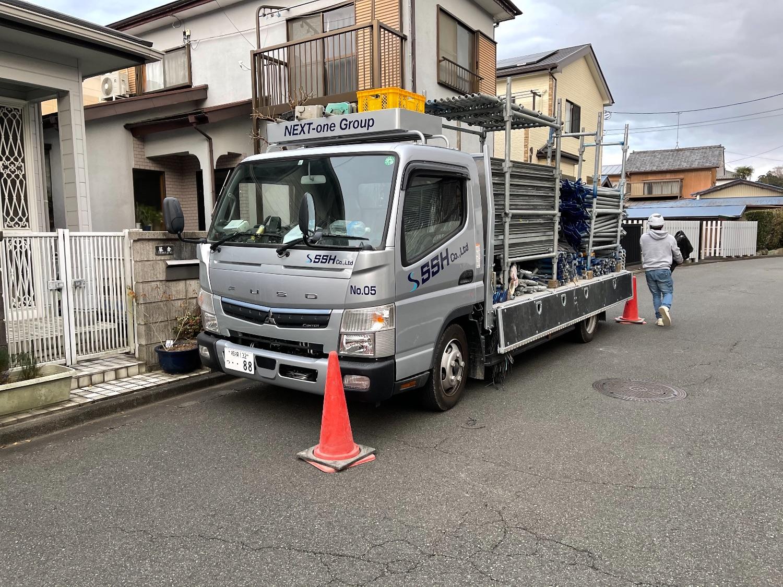 厚木市愛名にて仮設工事
