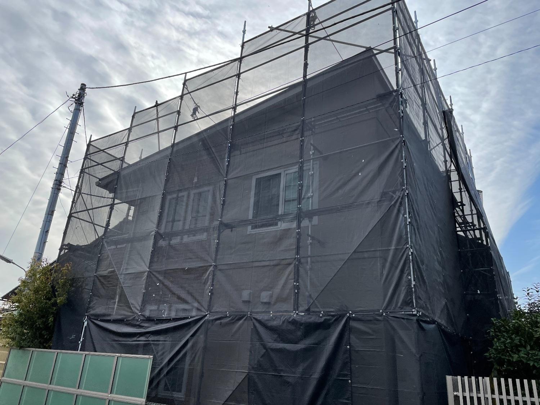 座間市東原にて仮設工事