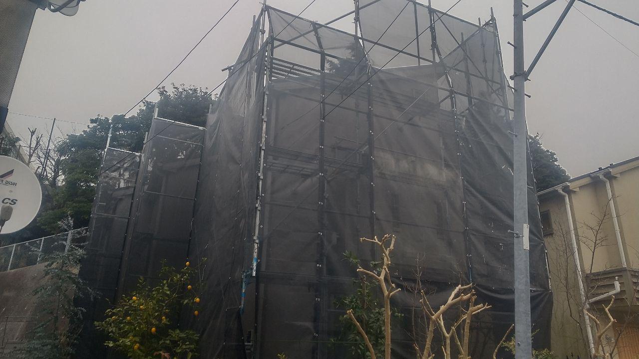 中区上野町にて仮設工事