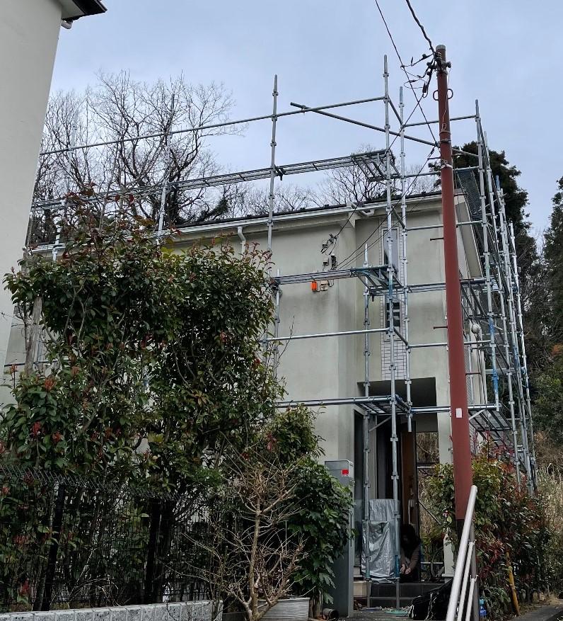 鎌倉市高野にて仮設工事