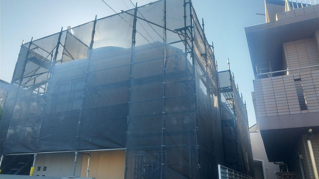 三鷹市新川にて仮設工事