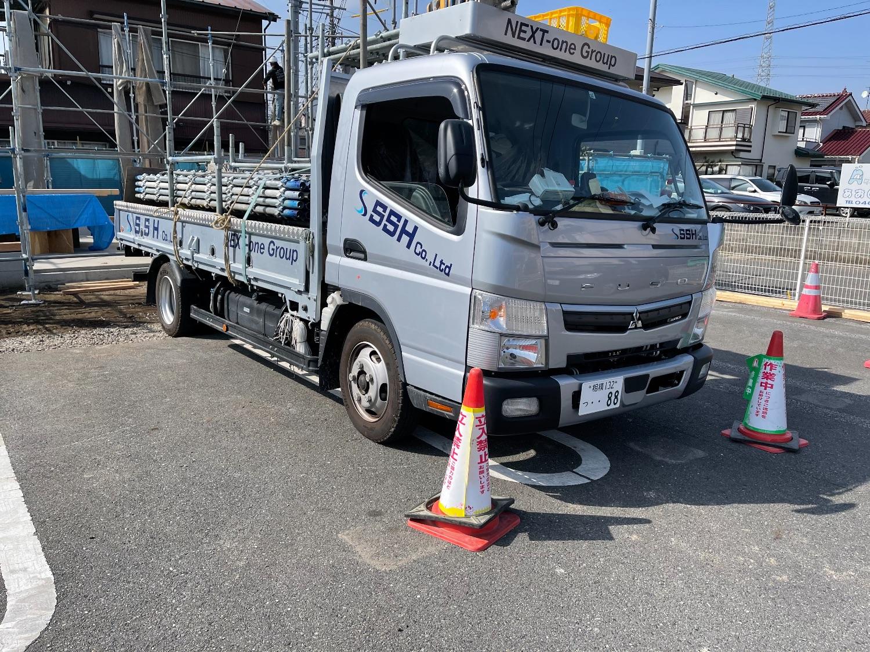 寒川町岡田にて仮設工事