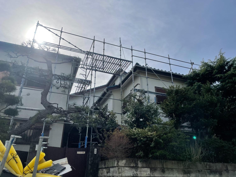 目黒区中根にて仮設工事