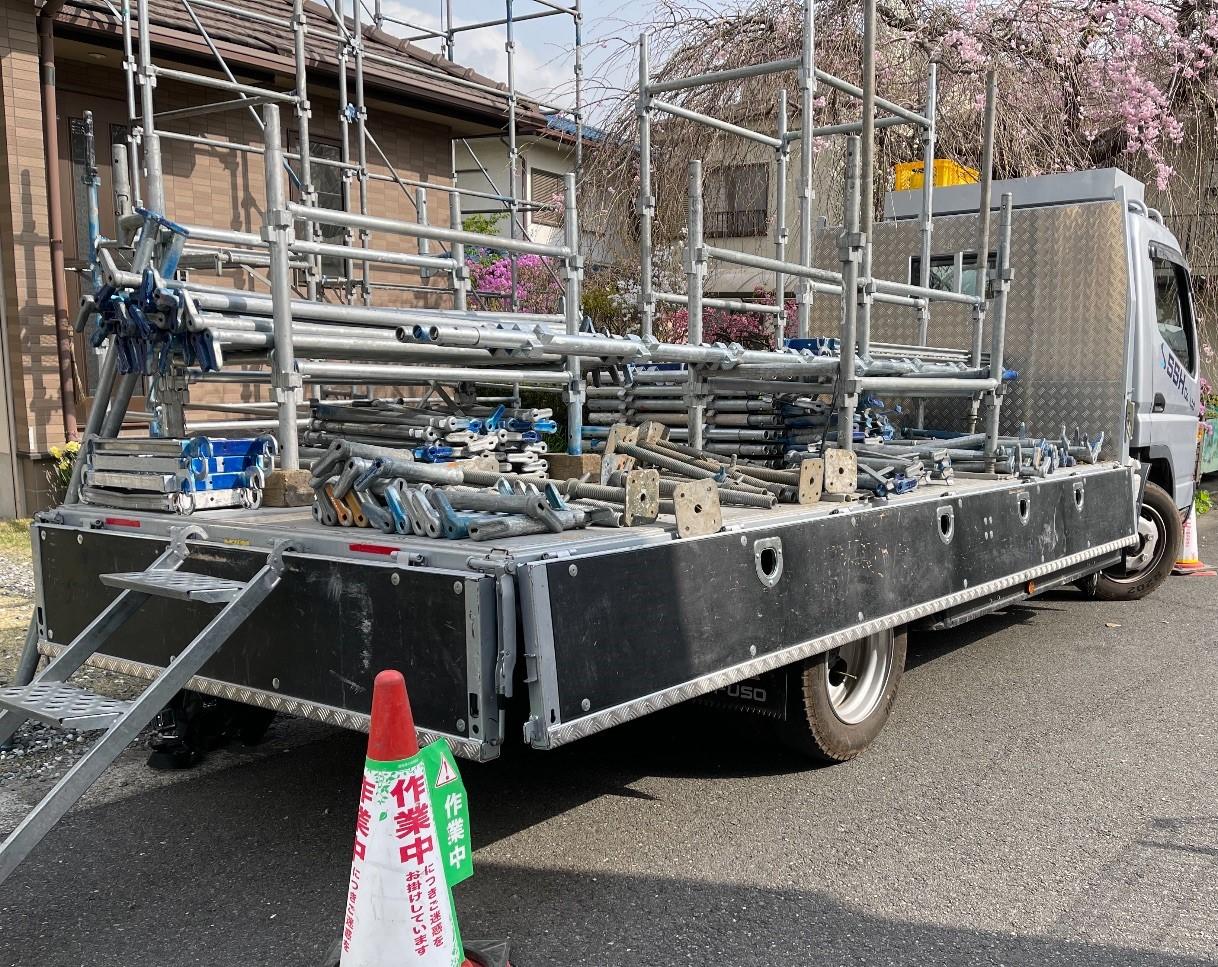 緑区久保沢にて仮設工事