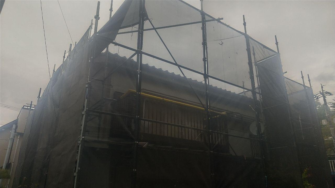 神奈川区神之木台にて仮設工事
