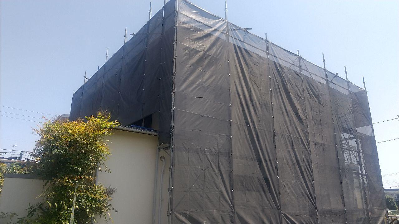狛江市西野川にて仮設工事