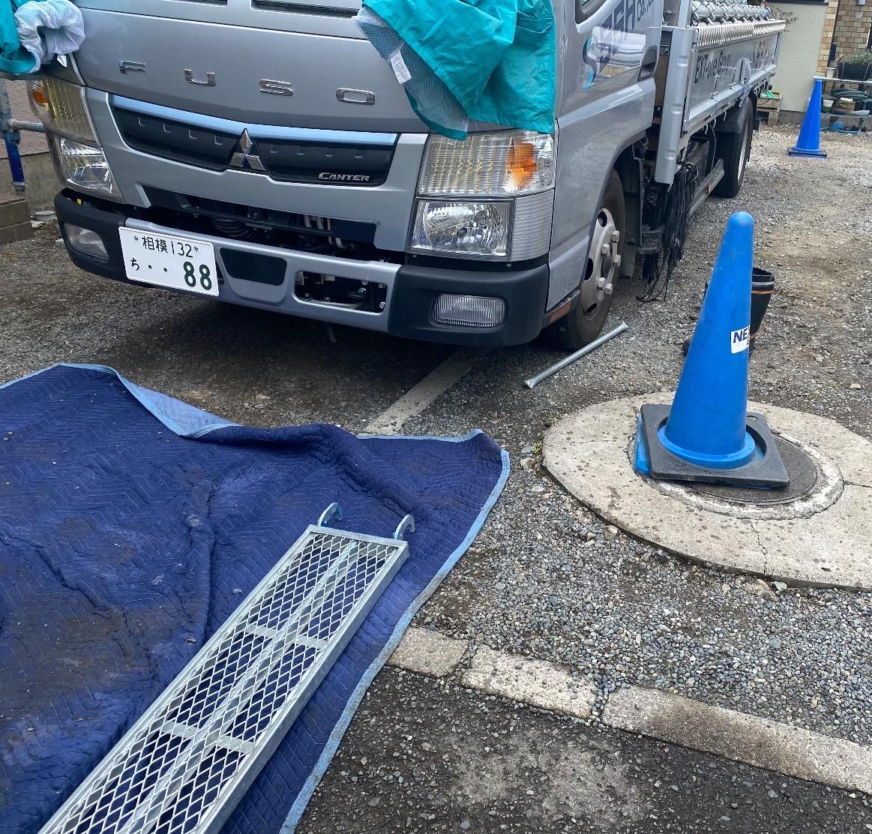 緑区下九沢にて仮設工事