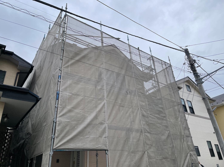 【足場】茅ヶ崎市柳島にて仮設工事