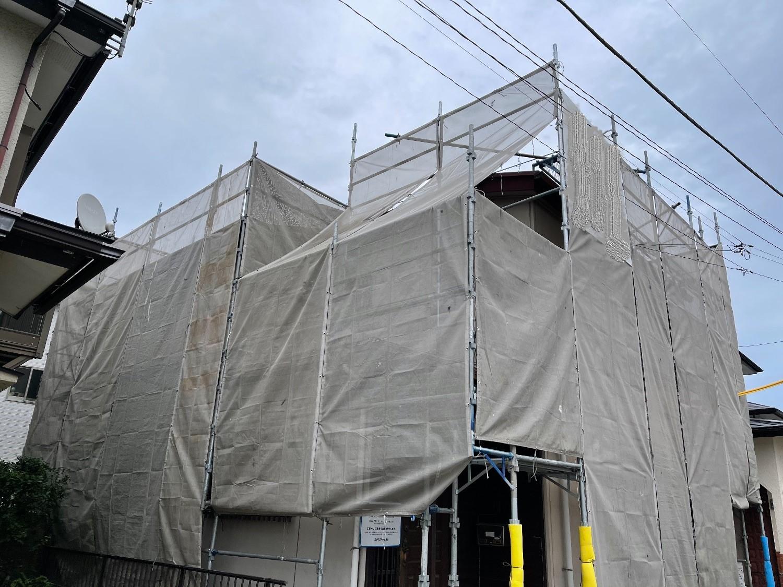 【足場】大井町金子にて仮設工事