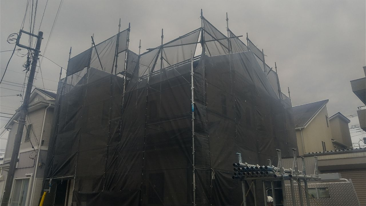 【足場】小田原市扇町にて仮設工事