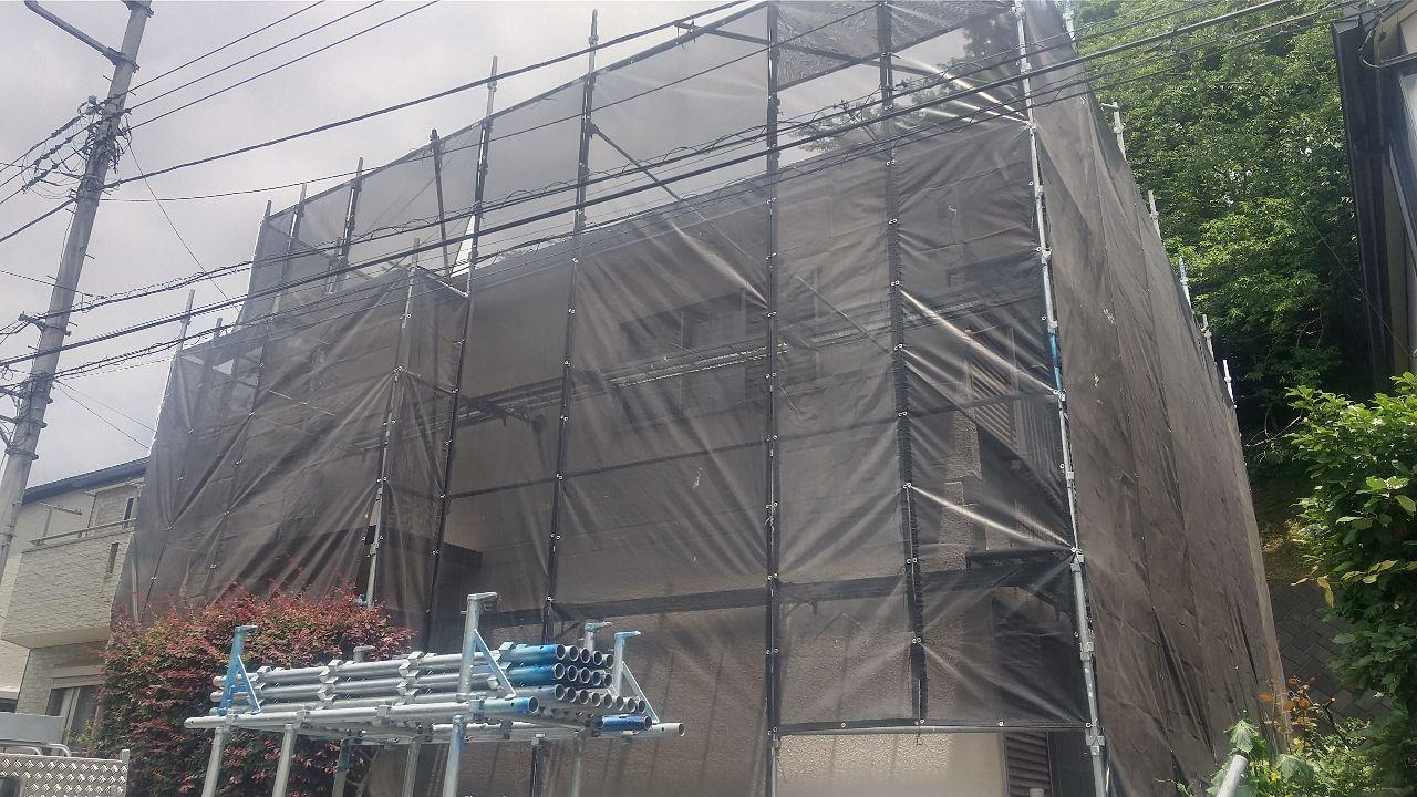 【足場】厚木市鳶尾にて仮設工事