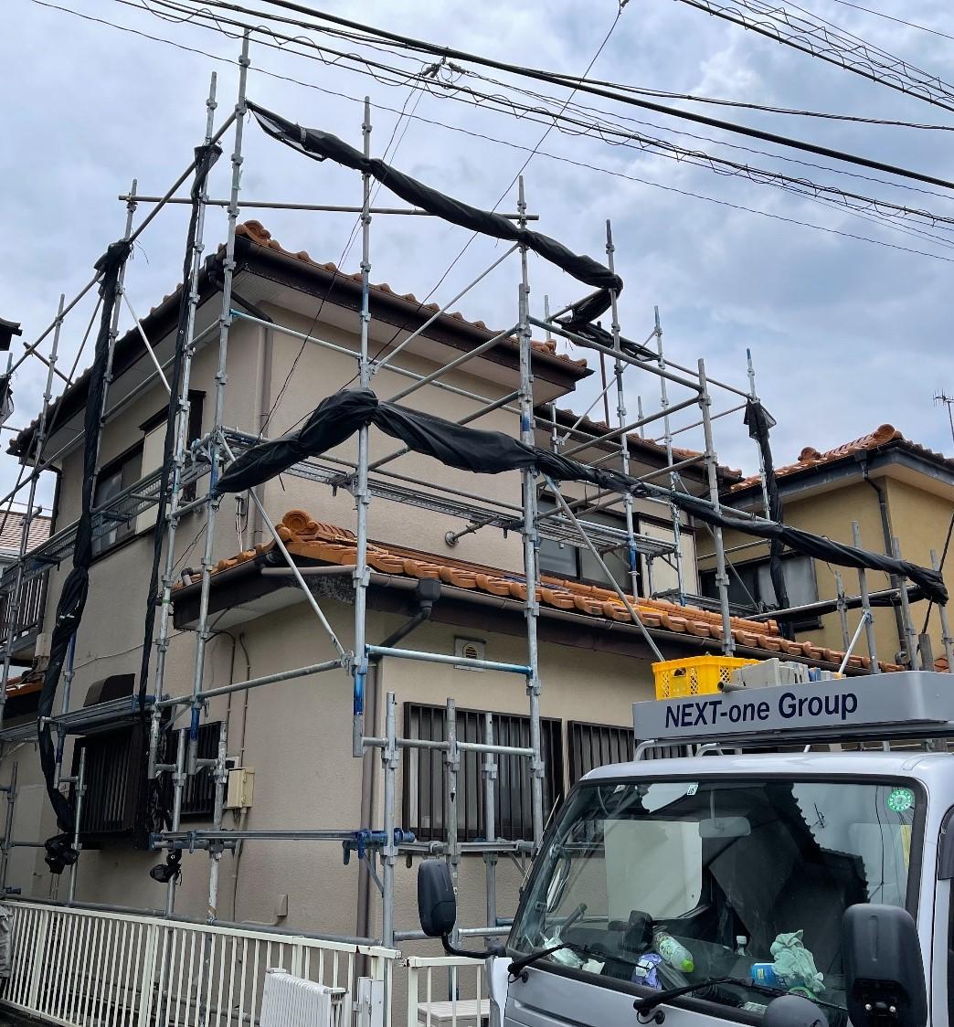 【足場】茅ヶ崎市萩園にて仮設工事