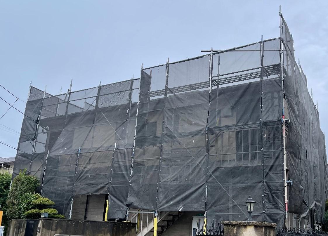 【足場】横浜市青葉区美しが丘西にて仮設工事