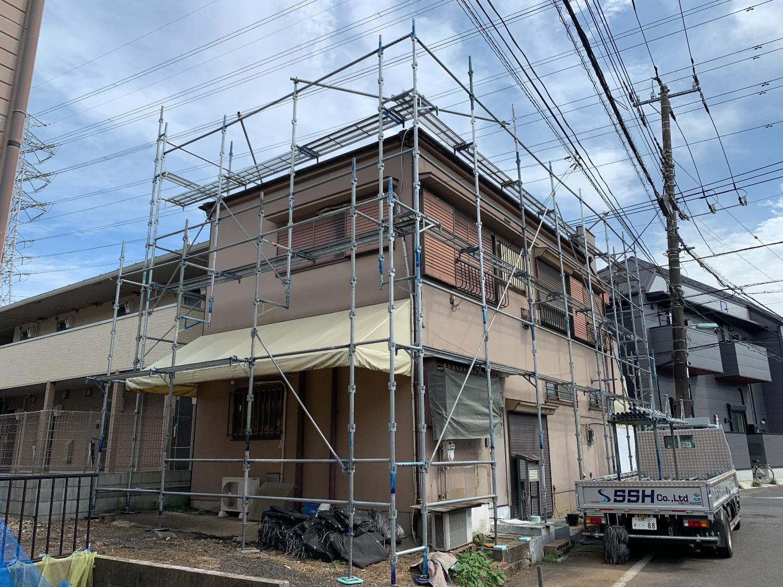 【足場】 調布市緑ヶ丘にて仮設工事