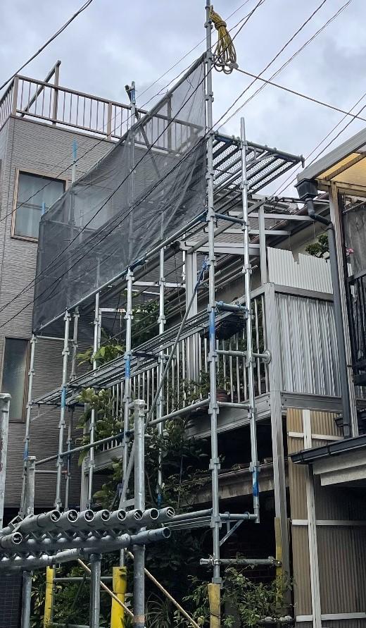 【足場】大田区南蒲田にて仮設工事