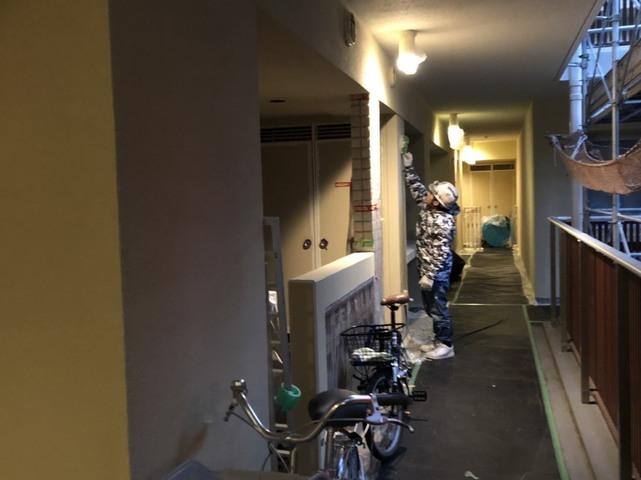 茅ヶ崎改修工事 廊下内塗装工事
