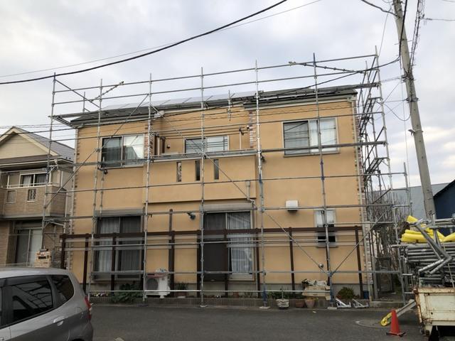 戸塚区にて足場工事
