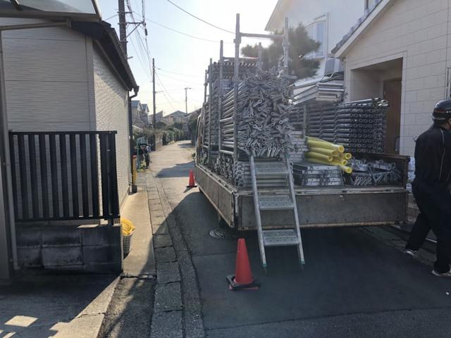 寒川町にて足場工事①