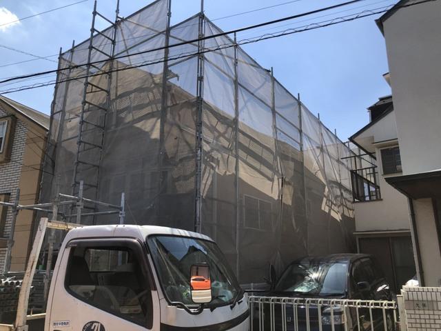 目黒区にて足場工事
