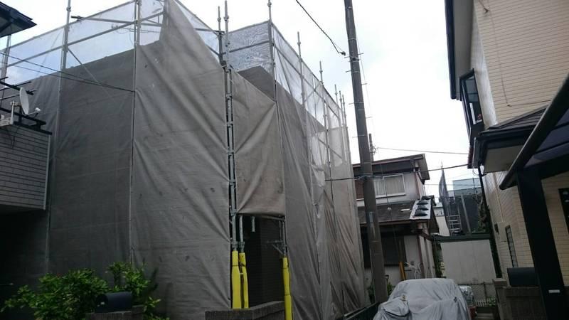 厚木市にて塗装用仮設工事