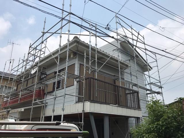 藤沢市にて足場工事