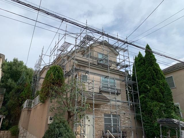大田区にて足場工事