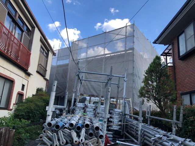 練馬区にて足場工事