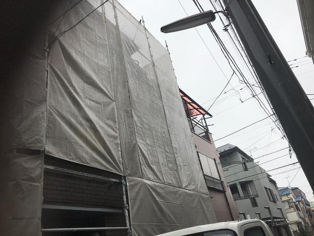 江戸川区にて足場工事